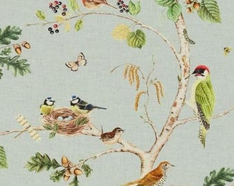 Natural fabric, birdsong, sold by the yard