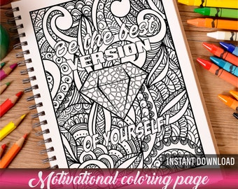 Coloring page Adult coloring Coloring book Printable coloring page Zentangle coloring page Motivational poster Diamond Motivation quote