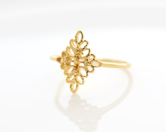 Gold filigree ring • Thin gold ring with filigree • Filigree gold ring • Gifts for her