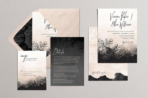 Gothic Hochzeit Einladung Set Romantische Hochzeitssuite