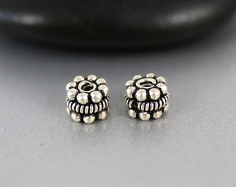 Spacer Bead Pair - Sterling Silver - Spacer Beads - Oxidized