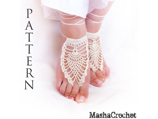 Barefoot sandal crochet pattern pineapple motif pdf file craft this is a digital file dt1010fo