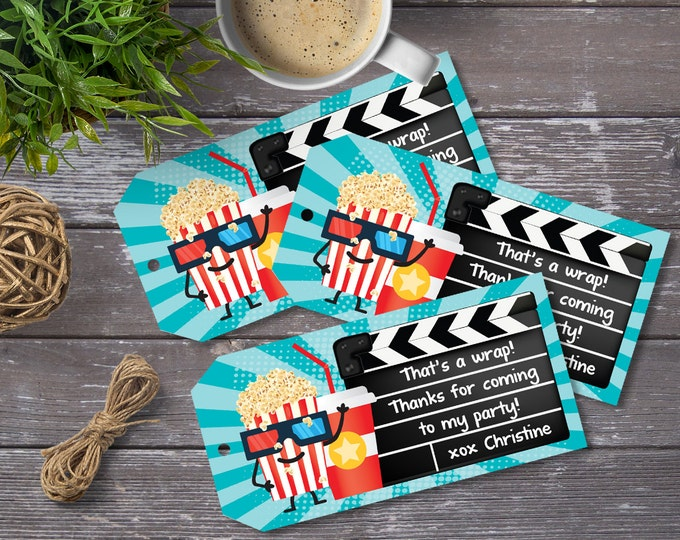 Movie Party Favor Tag - Movie Birthday Tag, Thank You Tag, Birthday Party Favors | Editable Text - Instant Download PDF Printable
