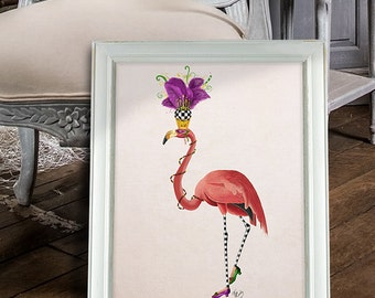 Flamingo Print - Mardi Gras Pink Flamingo Full  - Flamingo Art Print Pink Flamingo Décor Flamingo Gift Flamingo Wall art poster