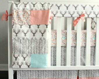 Woodland girl Crib bedding. Fawn, Coral, Mint, Deer.