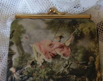 Romantic Silk Screened Design of the Painting 'The Swing' Wallet