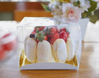 5 mini clear boxes, mini cake box, clear box, small clear box, mini bakery box, cake box, clear cake box, cake gift box, clear gift box