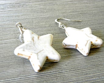Large White Star Dangle Earrings Stone Earrings