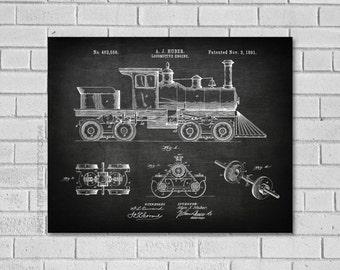 Locomotive Patent Print - Train Engine Patent - Train Art - Train Engine Decor - Train Print - Locomotive - Train - Patent Print VL556