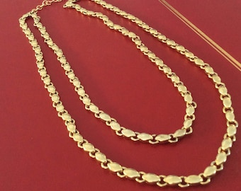 Gold toned ladies double stranded necklace 17 inches #