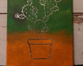 Cactus in a Pot Canvas Art 8x10