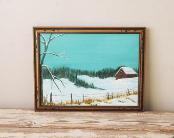 Mountain Landscape Painting Red Barn Winter