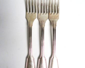 3 Silver plate forks, Alpacca silver plate forks silver plate dinner forks, silver plate flatware cutlery silverware Length 8.2 in / 21 cm