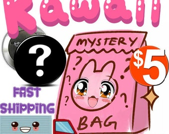 SURPRISE MYSTERY Grab Bag of Pin back Buttons  / Badges KAWAII Theme !  6 for 5 dollars!  Fast Shipping!