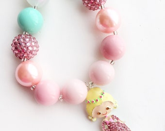 Chunky bead necklace with french princess pendant, 20mm bead necklace, pink