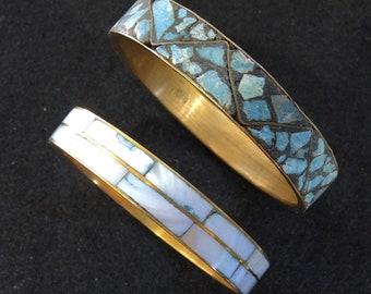 Vintage Shell Mosaic Bangle Bracelets, Abalone And Shell Bangles, Set Of 2