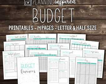 Budget Printables, Printable Budget Planner, 14 Pages Included in both Letter & Half Letter Size, EDITABLE, Instant Download