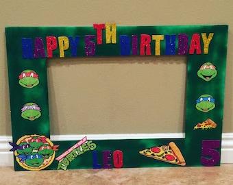 Ninja Turtle birthday photo frame, green, photo prop, party decorations