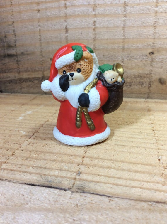 Vintage Lucy Rigg bear, Lucy Rigg Santa Bear, Santa Bear decor, Christmas decor, Lucy Rigg Collector, vintage 1987 Lucy Rigg Enesco bear