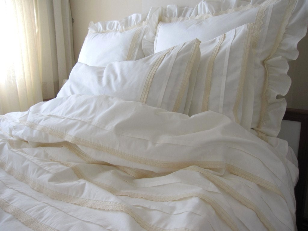 Ivory Shabby Chic Bedding: Plain All Ivory Cream FULL QUEEN Duvet Cover Lace Eyelet