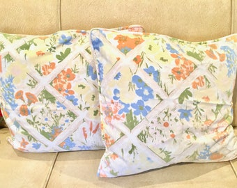 Bamboo and Floral Pillow Pair with Goose Down Filling. Bohemian Decor. 1970s.