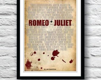 ROMEO and JULIET, Shakespeare print, Quote poster, Typography poster, Shakespeare art, Wall decor, Romeo and Juliet art
