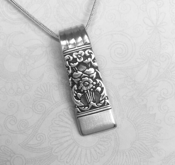 Spoon Necklace Pendant, Silverware Jewelry 'Coronation' 1936