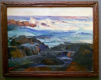 Edgar Alwin Payne Original Laguna Beach California Seascape Surf And Rocks Antique Plein Air Impressionist Oil Painting