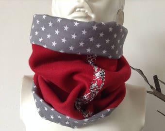 Snood tour de cou écharpe tube col femme, lainage rouge biais Liberty doublé coton gris étoiles