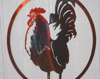 Rooster In Oval Country Kitchen Metal Wall Art