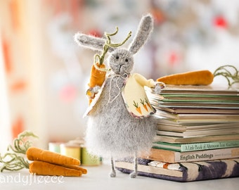 Easter rabbit decoration Easter rabbit plush Grey hare statue Knitted bunny with carrot Spring bunny easter decor Wool bunny in clothes Gift