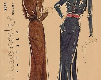 ON SALE Vintage 1930s Rare Designer Dress Sewing Pattern Customode by Simplicity 8235 30s Art Deco Mail 30s pattern Size 16 Bust 34 Created