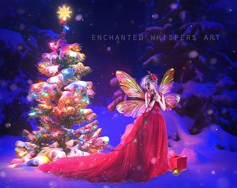 fantasy fairy Christmas whimsical art print