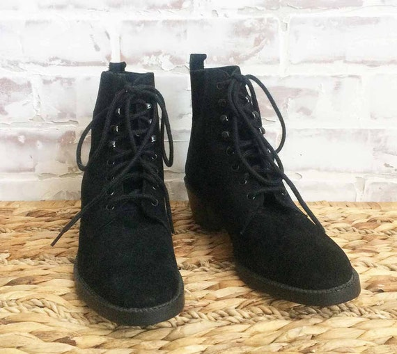 Booties Boho Goth Size Granny 1980's Up BLACK Granny 7 Deadstock Lace Suede Boots Vintage Witchy Ankle qCxP1wHx