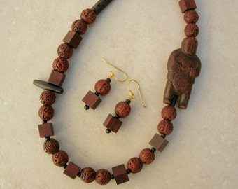 Mendicant Wood Buddhist Monk Necklace, Square Wood Beads & Carved Chinese Wood Beads, Ethnic Buddhist Necklace Set by SandraDesigns