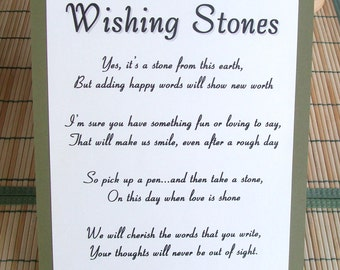 Wishing Stones Instructions Sign - Customize For Your Event - Guest Book
