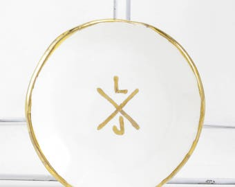 X Cross Monogram Wedding Personalized Ring Dish
