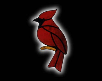 Stained Glass CARDINAL Suncatcher