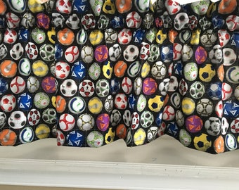 Soccer Balls Sports Valance Curtain Varous Lengths
