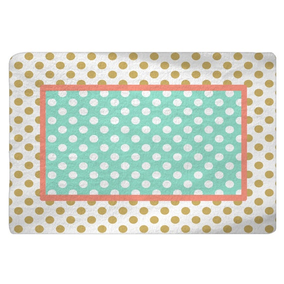 Marion S Coral And Gold Polka Dot Nursery: Gold-White-Coral-Mint Polka Dots Nursery Fuzzy Area Rug Size