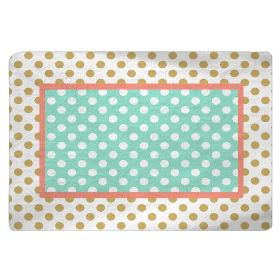 Gold White Coral Mint Polka Dots Nursery Fuzzy Area Rug Size