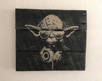 "DJ Yoda 12"" x 10"" rustic reclaimed pallet wood wall art home decor Star Wars"