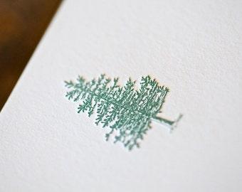 Letterpress Pine Tree Note Cards