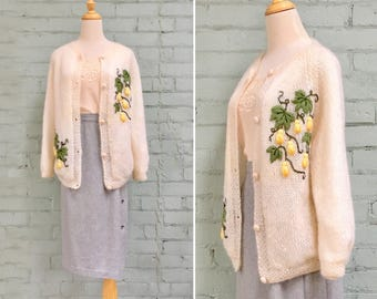 1960s cream mohair cardigan/ 60s embroidered sweater / 1960s wool cardigan