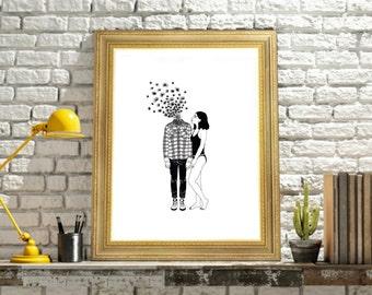 Oh my Dandelion,  Minimal Digital Poster, Wall Art Prints.
