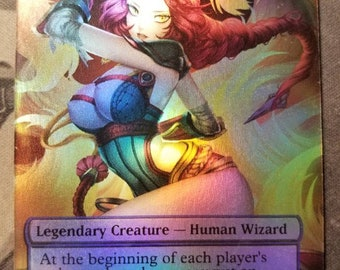 Foil Braids, Conjurer Adept full art casual play card for mtg with new card back