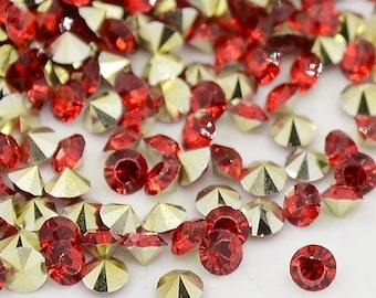 24 rhinestones SS23, resin, Ø5mm, red, round