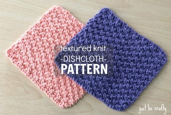 Textured Knitting : Textured knit dishcloth pattern printable pdf download
