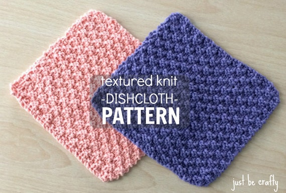 Textured Knit Dishcloth Pattern Printable Pdf Download Knitted