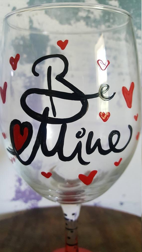 Love wineglass, Valentine Wineglass, Anniversary Wineglass, Birthday Wineglass,